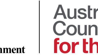 Australia Council for the arts logo featuring text and red kangaroo
