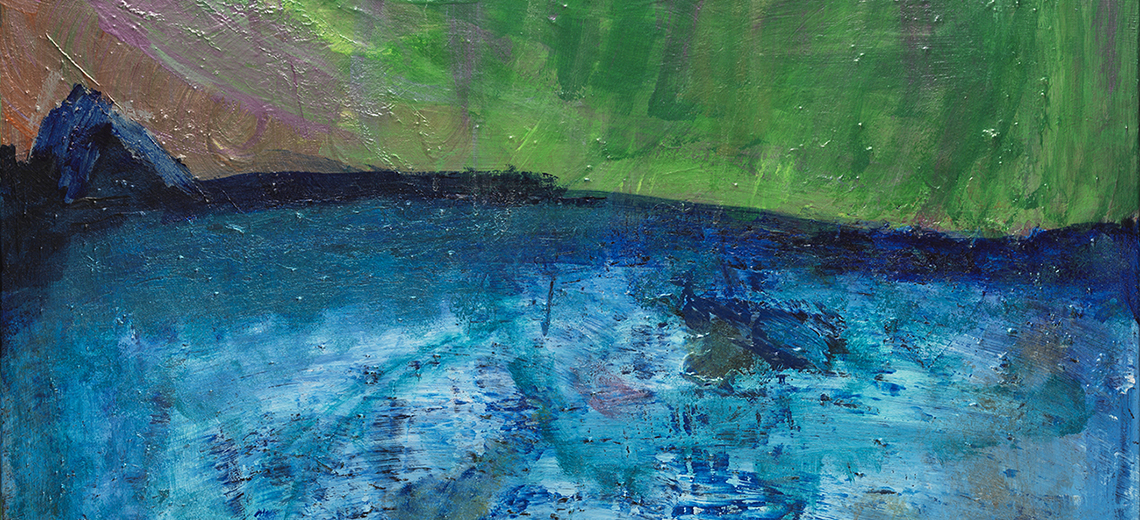 An abstract painting using blue, green and pinks.