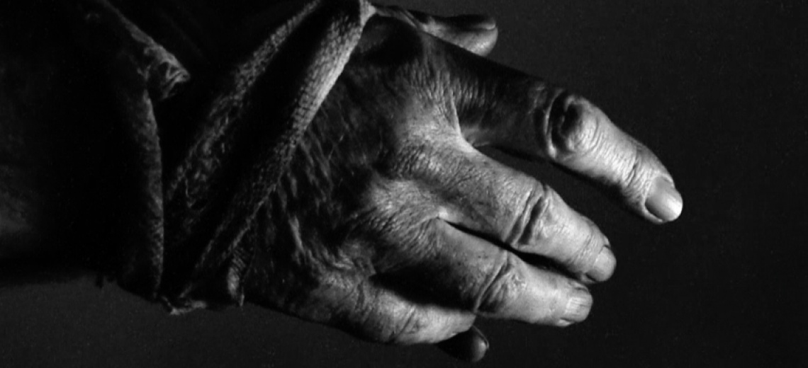 A close up shot of the hand of an older person
