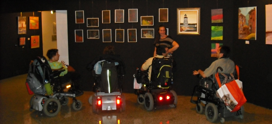 Wheelchair users in exhibition