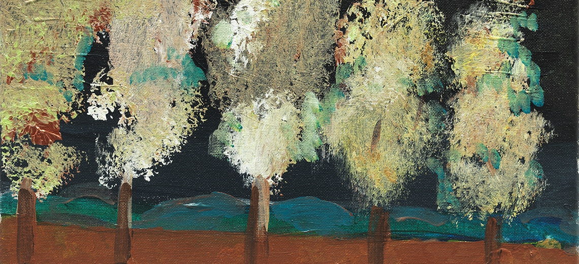 An abstract painting of a group of five trees.