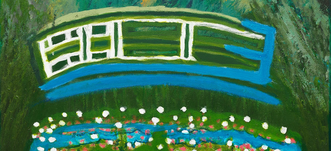 An abstract painting of a bridge over water.