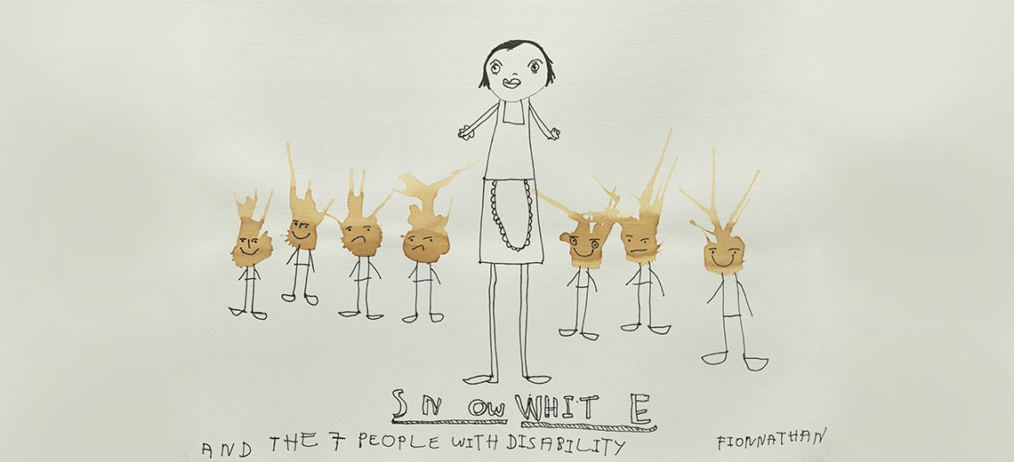 A line drawing of eight people, with written title.