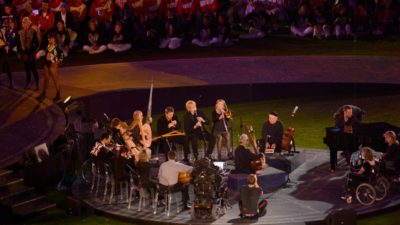 Paraorchestra arranged in a circle at the Paralympics closingceremony