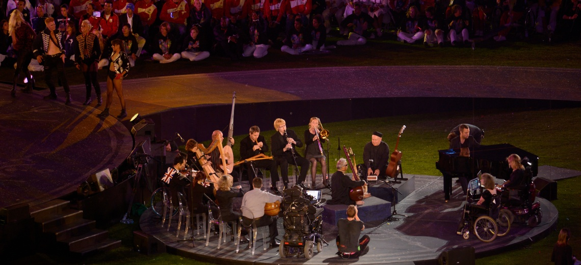 Paraorchestra arranged in a circle at the Paralympics closing ceremony