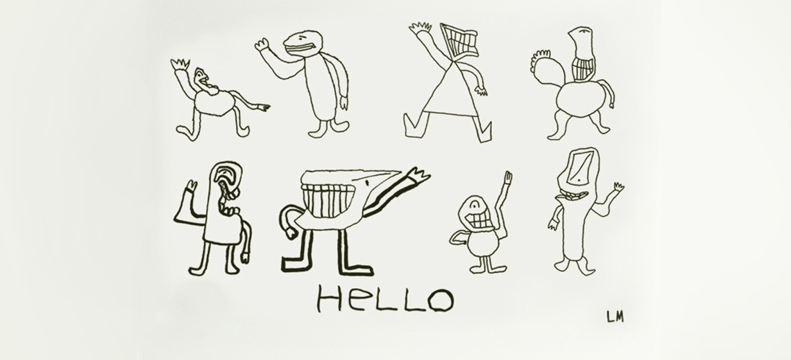 Black line drawings of alien like creatures on a white background.