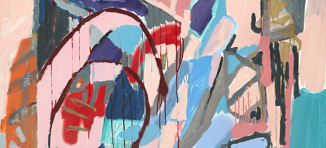 An abstract painting using pale pinks, blues, reds and greys.