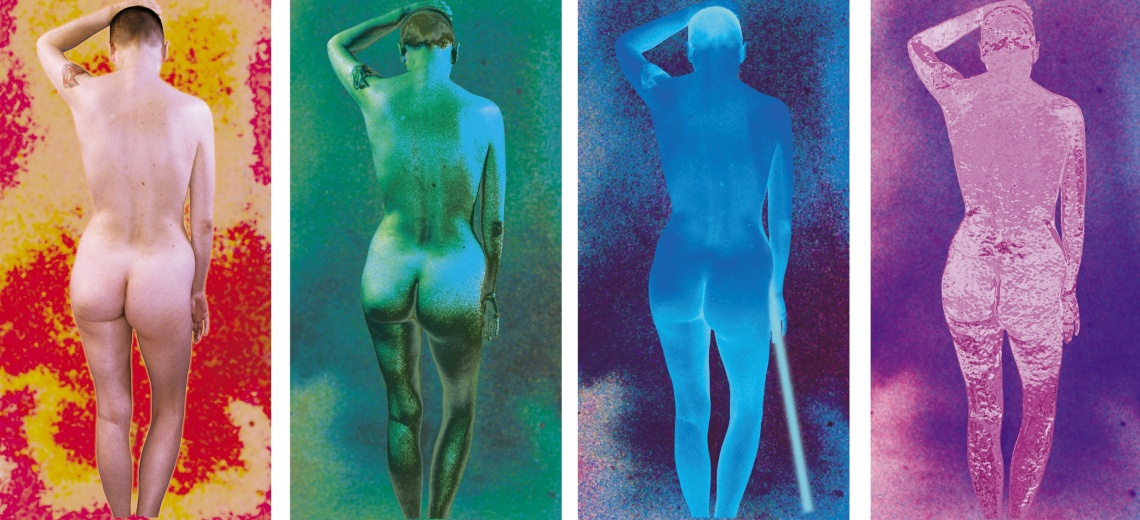 The back of a naked person repeated four times in different colours.