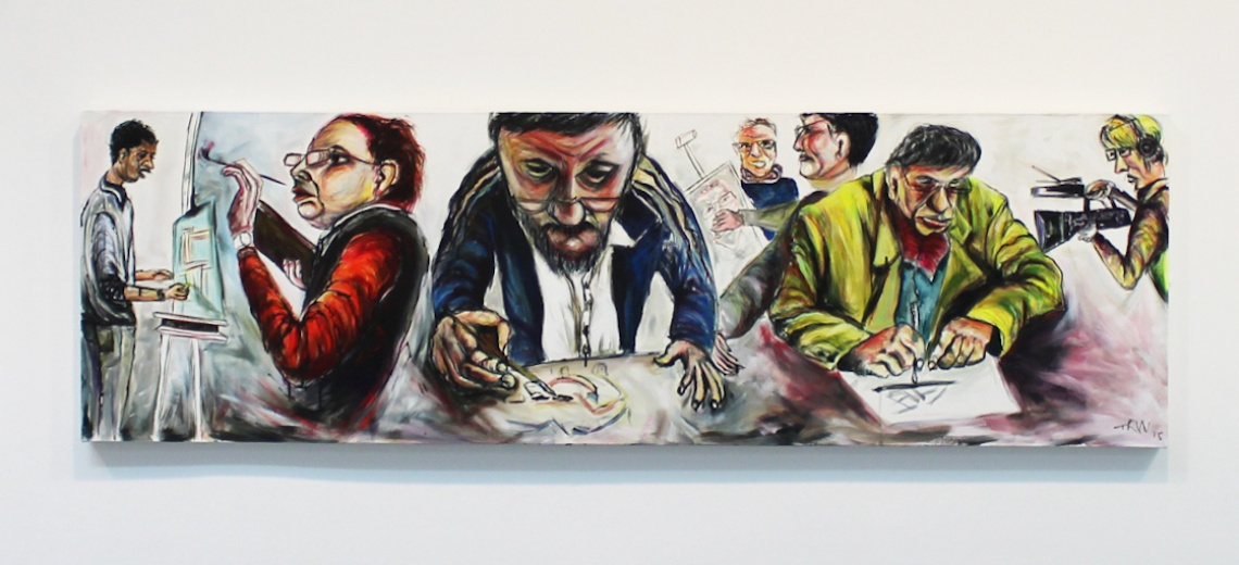 Large panoramic oil painting of people drawing