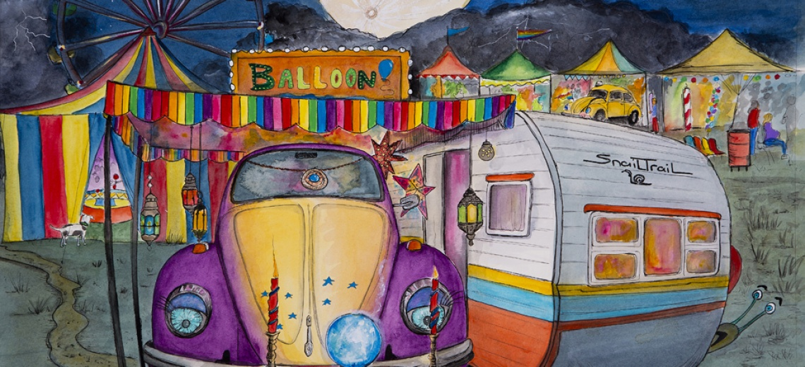 A purple and yellow VW Beetle car parked next to a small caravan in front of a fairground.