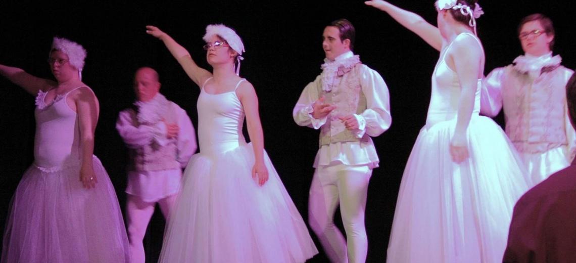 Dancers in white Edwardian dress