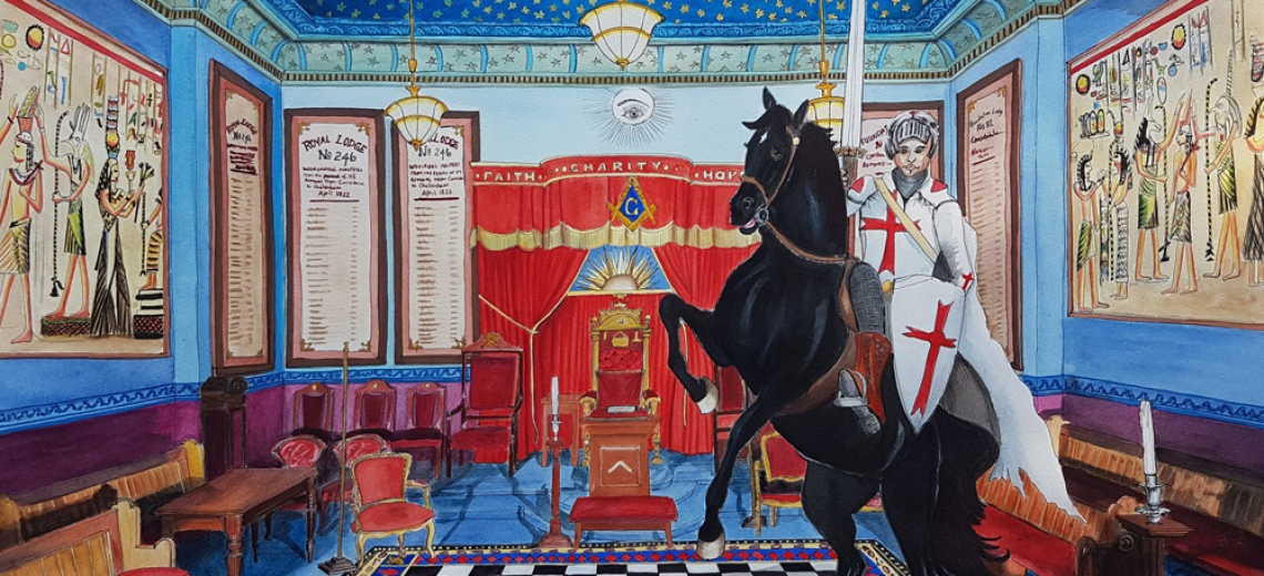 A grand room with rich colours. There is a black horse rearing up ridden by a knight.