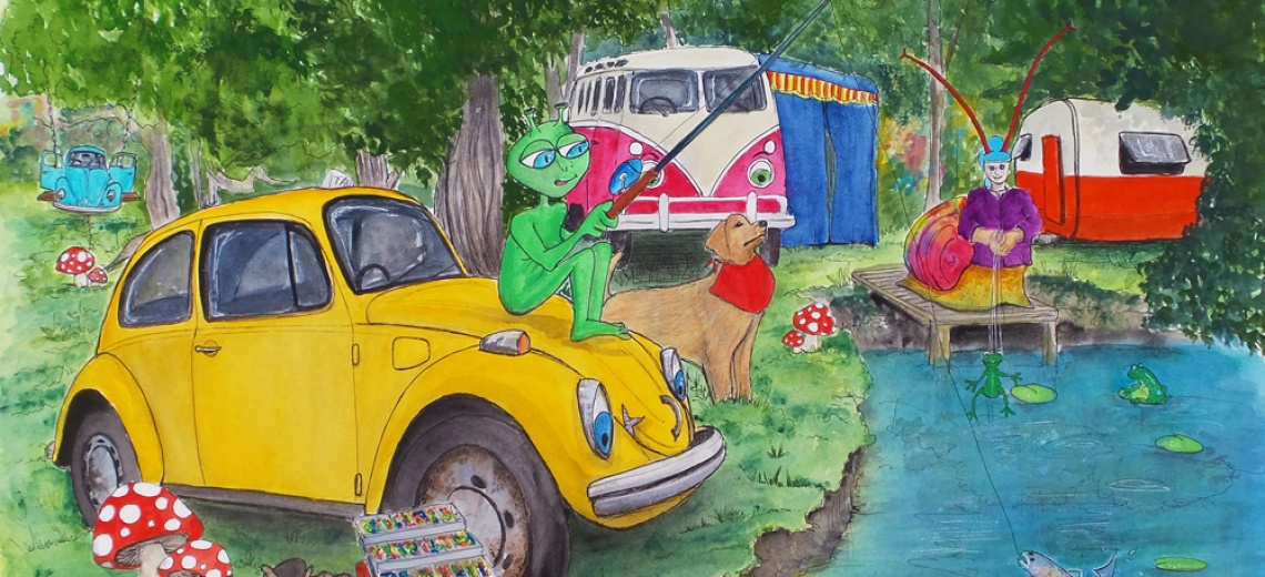 A green alien fishing from the bonnet of a yellow VW Beetle.