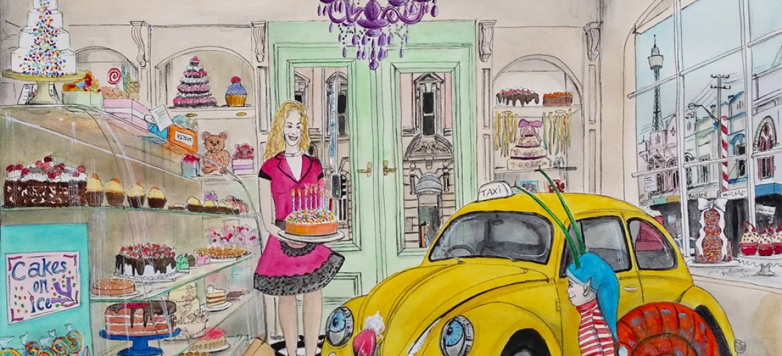 A yellow VW Beetle and a snail with a human face, being served a cake with candles in a grand cake shop.
