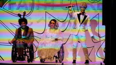 3 disabled performers on stage