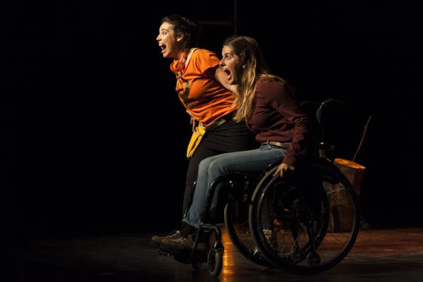 Wheelchair user and another woman scream