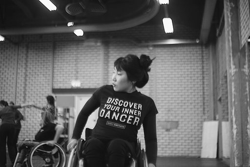 South Korean dancer, Yesol Kim, now based in Sweden glides through the dance studio in her wheelchair