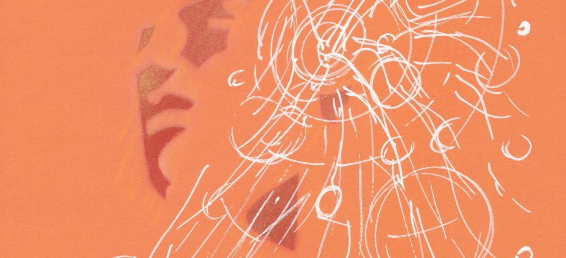 A spray painted silhouette image of a face on an orange background. There are white drawn lines and circles coming from the ear.