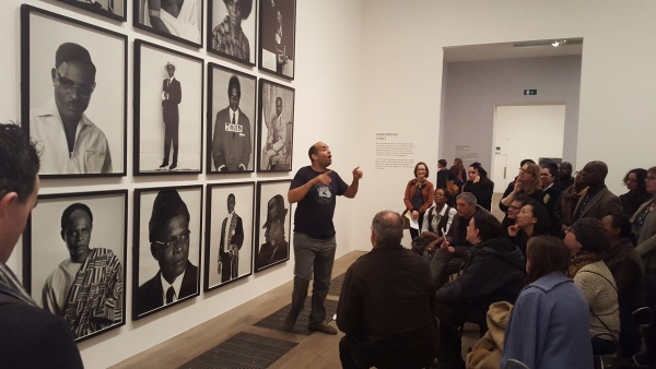 Photograph of Martin Glover, Tate Modern's BSL Guide, delivering a BSL tour