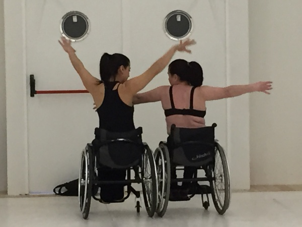 Two female dancers pose during the workshop