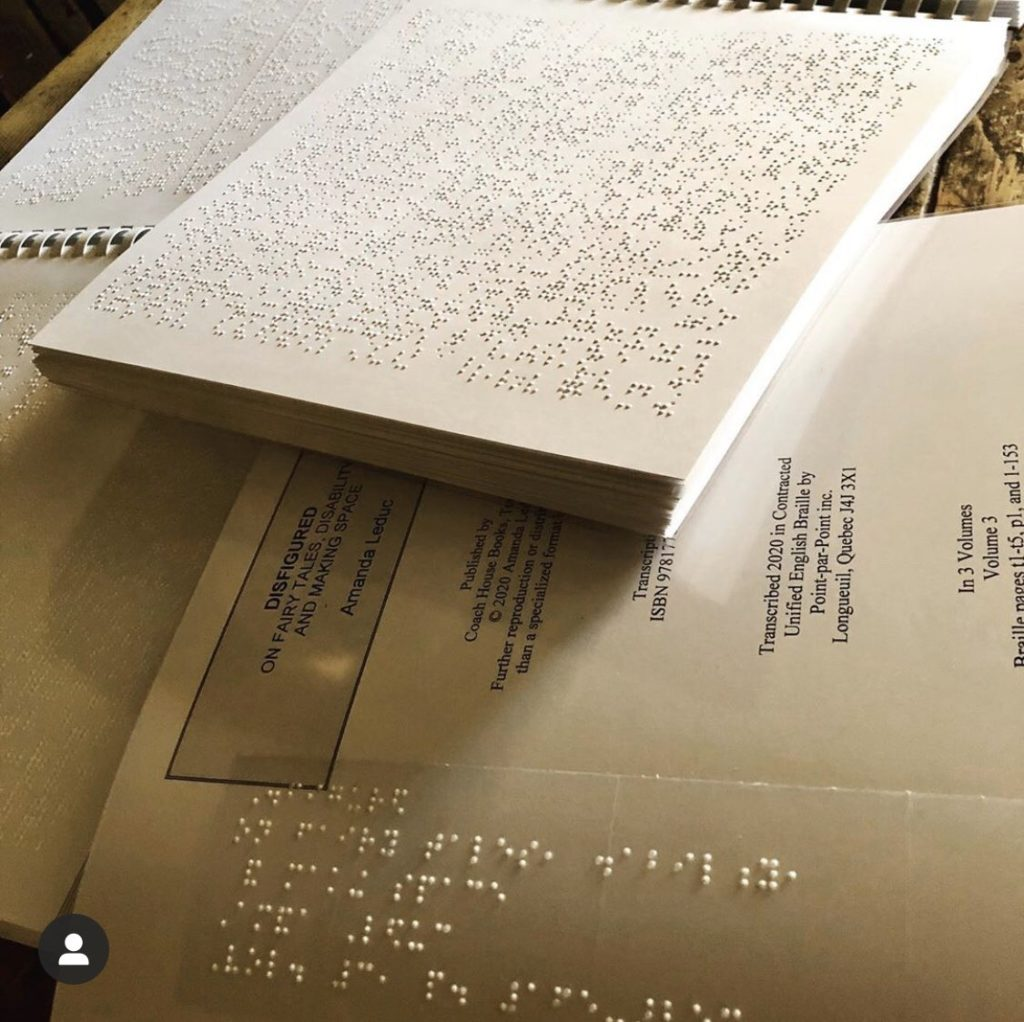 Close up photograph of a book in braille