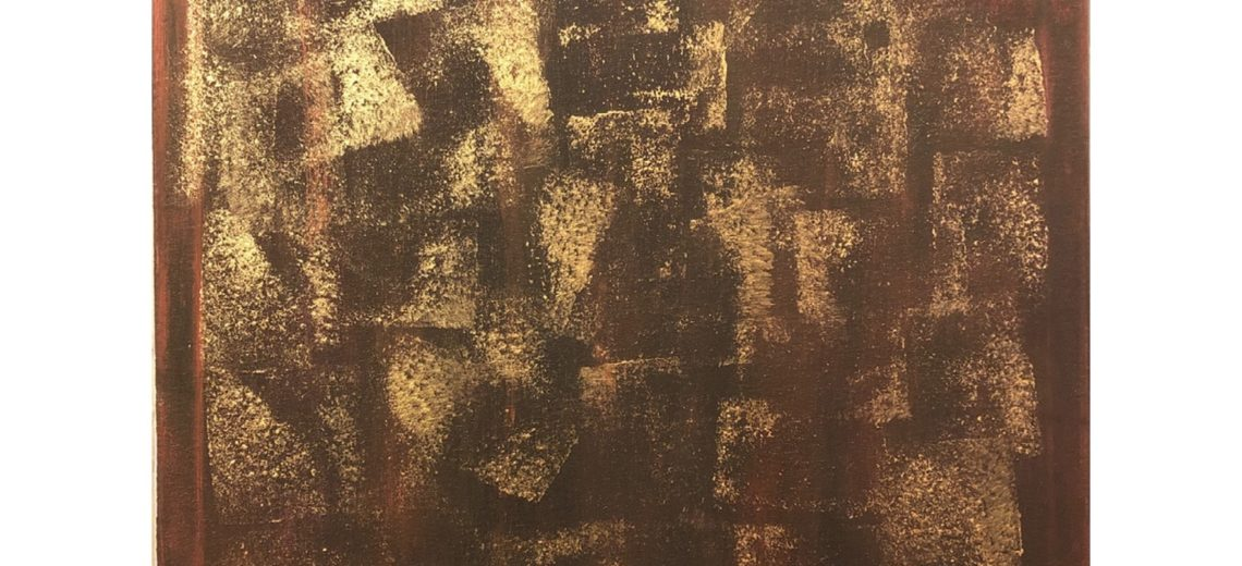 Abstract acrylic painting with shimmering faded gold layered on top of a brownish background