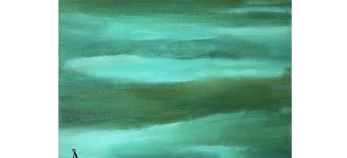 Abstract acrylic painting of slowing green and turquoise waves of colour