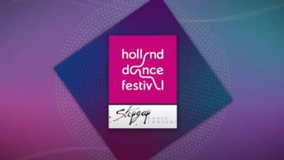 Pink and purple diamond graphic with logos from Holland Dance Festival and Stopgap Dance