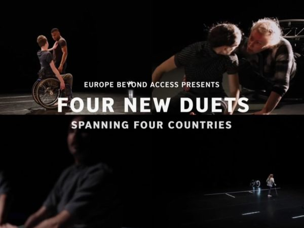 A screen divided into four duets, with the text 'Four New Duets'