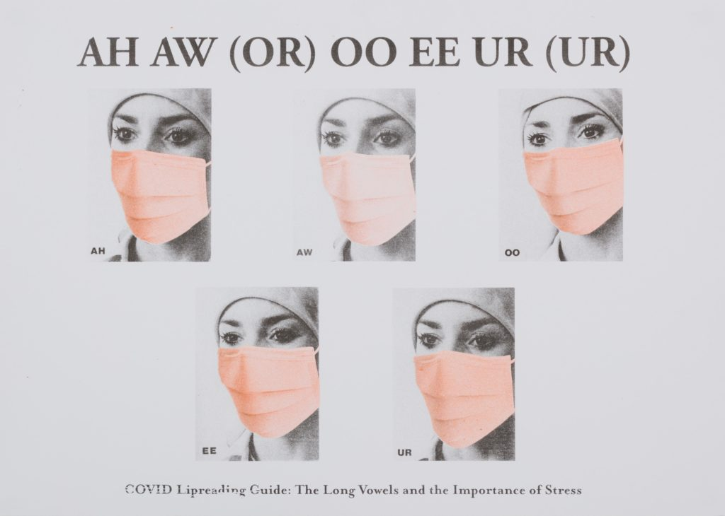 Black and orange print on off-white background. Five photographs of a woman's face with text above and below.